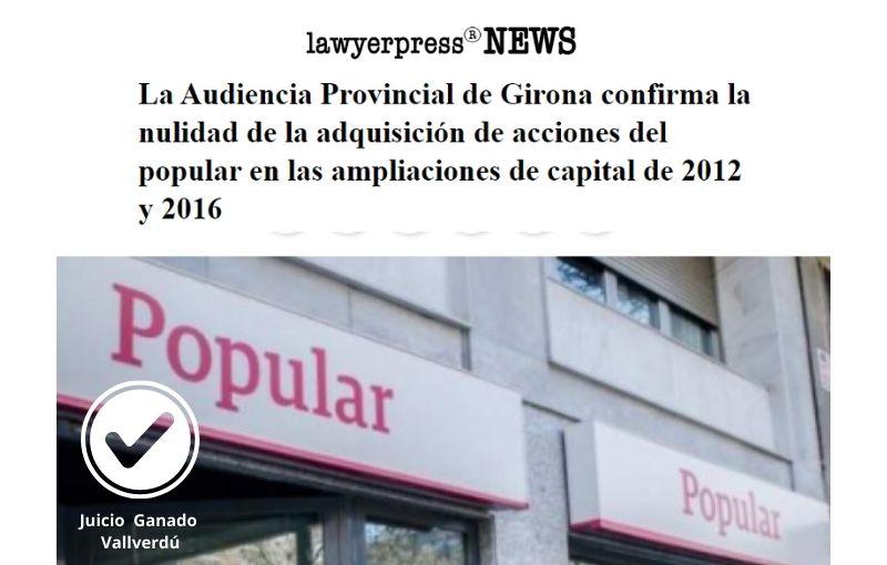 La Audiencia Provincial de Girona confirma la nulidad de la adquisición de acciones del popular en las ampliaciones de capital de 2012 y 2016