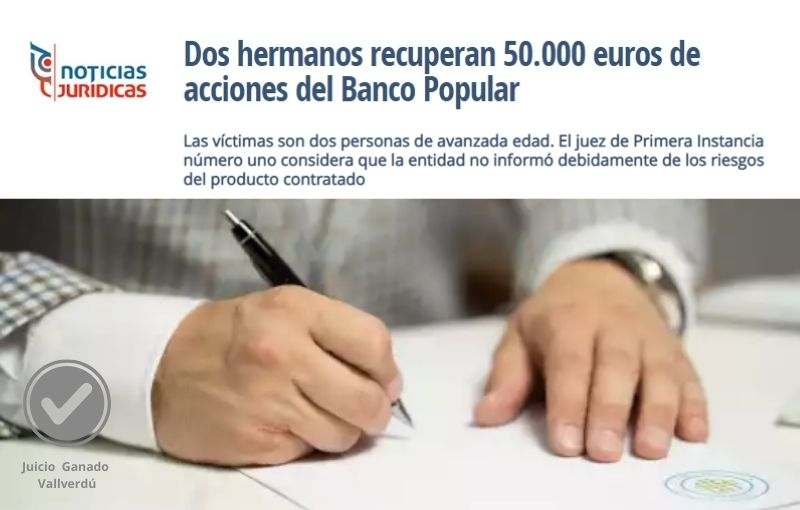 Dos hermanos recuperan 50.000 euros de acciones del Banco Popular