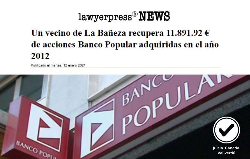 Un vecino de La Bañeza recupera 11.891.92 € de acciones Banco Popular adquiridas en el año 2012