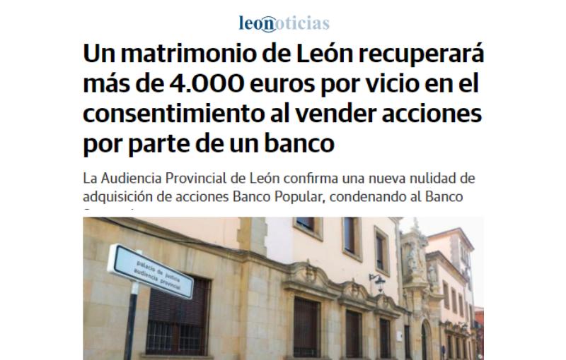 Un matrimonio de León recuperará más de 4.000 euros por vicio en el consentimiento al vender acciones por parte de un banco