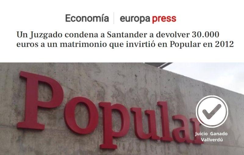Un Juzgado condena a Santander a devolver 30.000 euros a un matrimonio que invirtió en Popular en 2012
