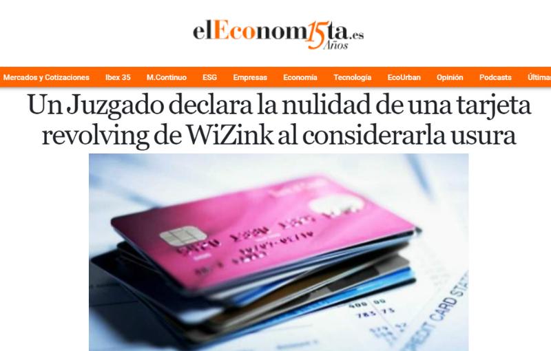 Un Juzgado declara la nulidad de una tarjeta revolving de WiZink al considerarla usura
