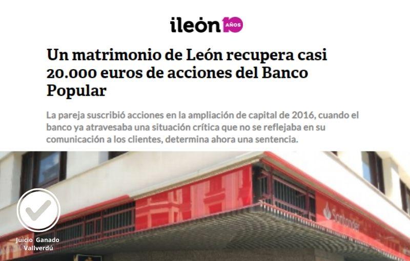 Un matrimonio de León recupera casi 20.000 euros de acciones del Banco Popular