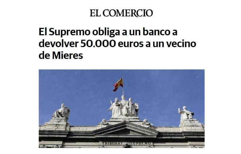 El Supremo obliga a un banco a devolver 50.000 euros a un vecino de Mieres