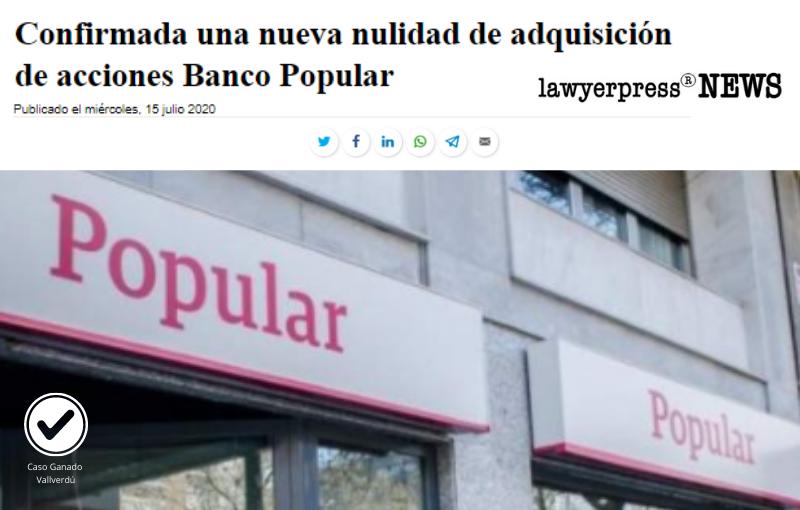Confirmada una nueva nulidad de adquisición de acciones Banco Popular