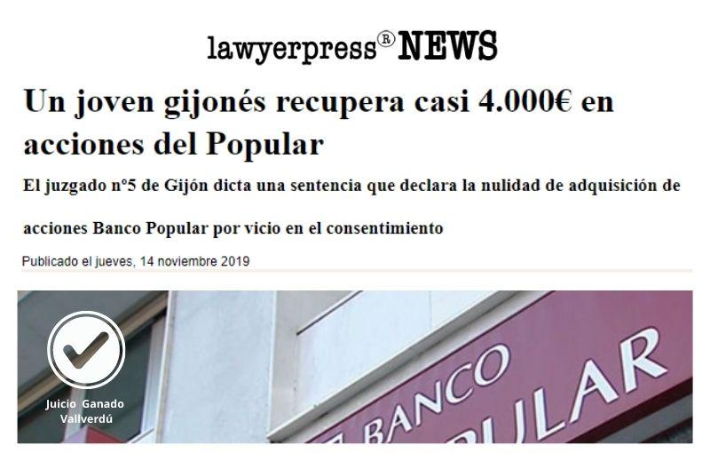 Un joven gijonés recupera casi 4.000€ en acciones del Popular