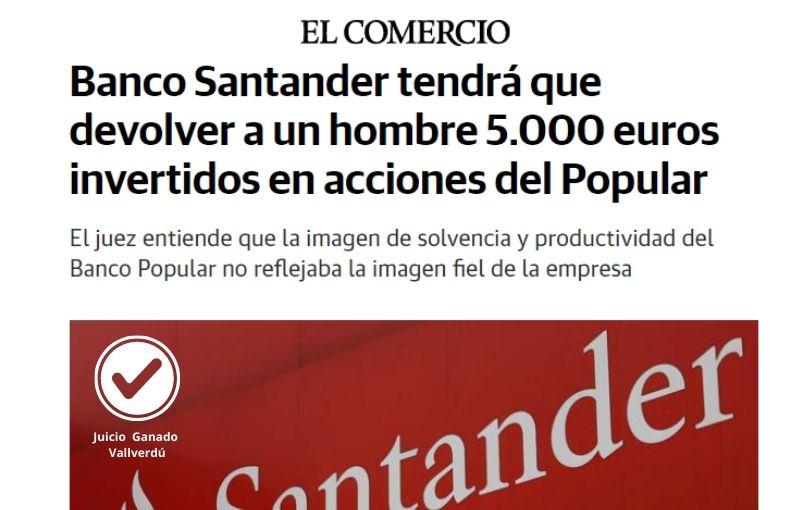 Banco Santander tendrá que devolver a un hombre 5.000 euros invertidos en acciones del Popular