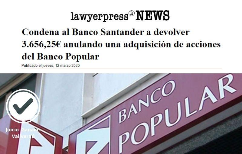 Condena al Banco Santander a devolver 3.656,25€ anulando una adquisición de acciones del Banco Popular