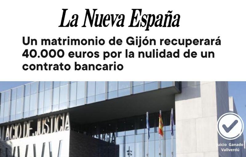 Un matrimonio de Gijón recuperará 40.000 euros por la nulidad de un contrato bancario