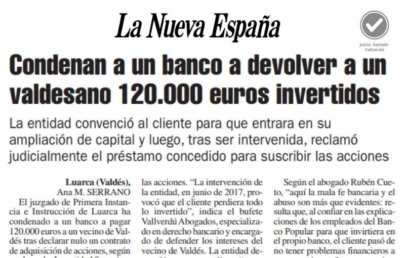 Condenan a un banco a devolver a un valdesano 120.000 euros invertidos