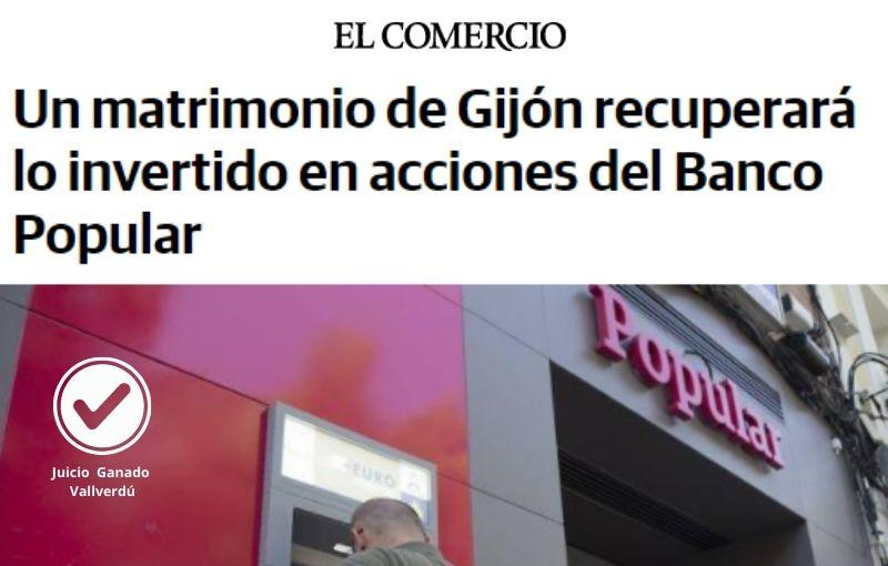 Un matrimonio de Gijón recuperará lo invertido en acciones del Banco Popular