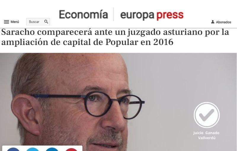 Saracho comparecerá ante un juzgado asturiano por la ampliación de capital de Popular en 2016