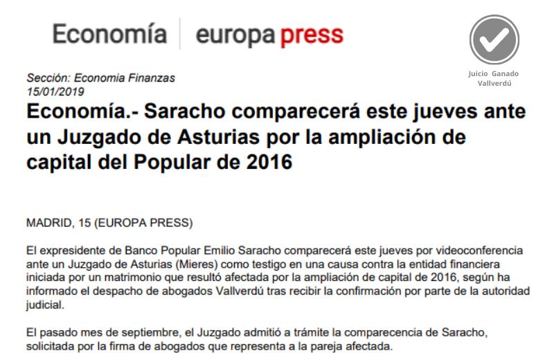Economía.- Saracho comparecerá este jueves ante un Juzgado de Asturias por la ampliación de capital del Popular de 2016