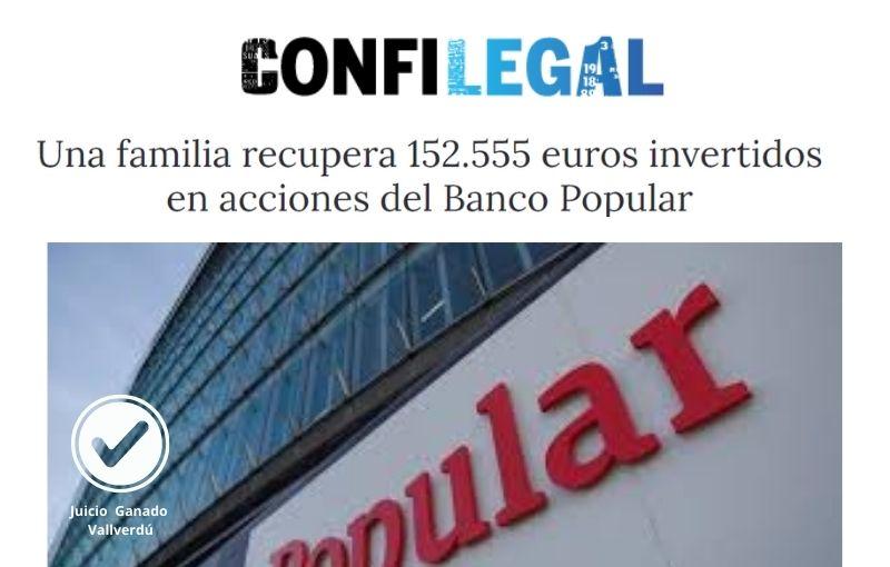 Una familia recupera 152.555 euros invertidos en acciones del Banco Popular