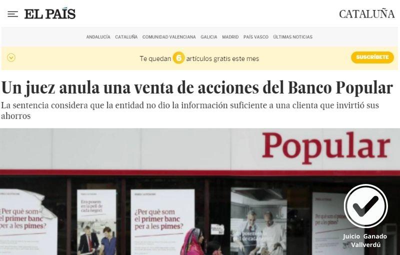 Un juez anula una venta de acciones del Banco Popular
