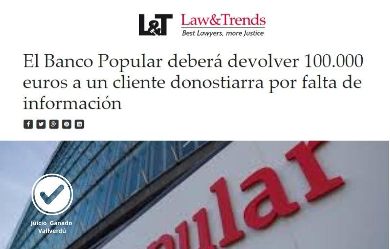 El Banco Popular deberá devolver 100.000 euros a un cliente donostiarra por falta de información