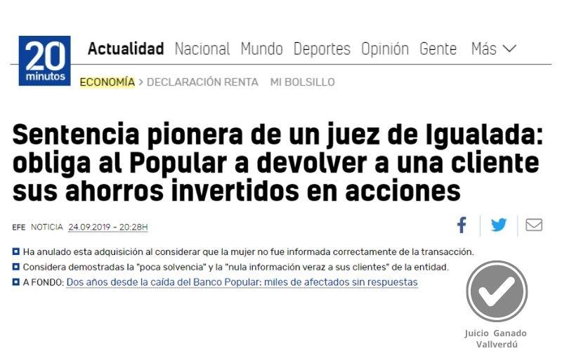 Sentencia pionera de un juez de Igualada: obliga al Popular a devolver a una cliente sus ahorros invertidos en acciones