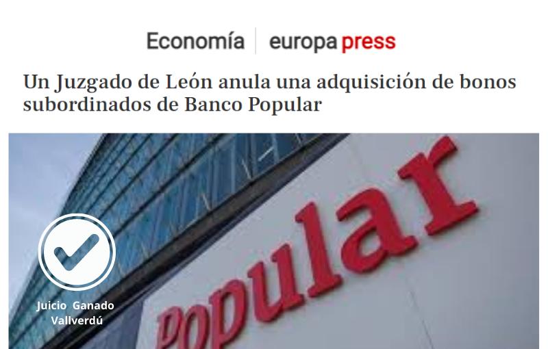 Un Juzgado de León anula una adquisición de bonos subordinados de Banco Popular
