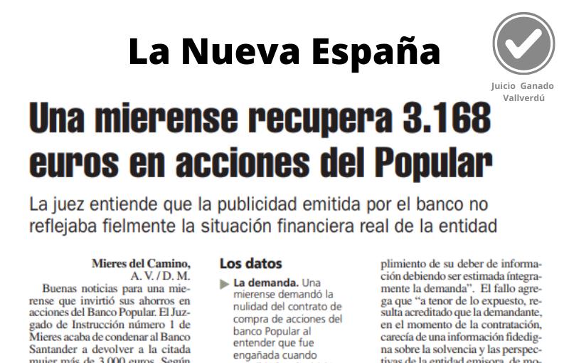 Una mierense recupera 3.168 euros en acciones del Popular