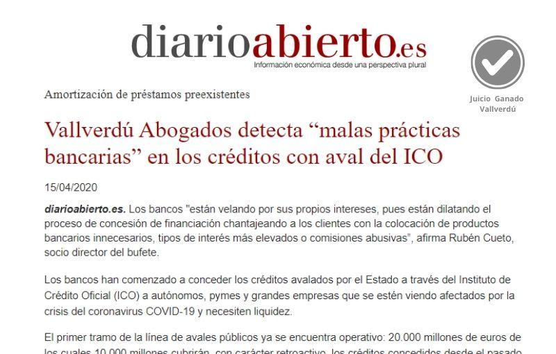 """Vallverdú Abogados detecta """"malas prácticas bancarias"""" en los créditos con aval del ICO"""