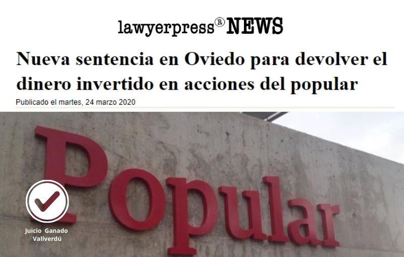 Nueva sentencia en Oviedo para devolver el dinero invertido en acciones del popular
