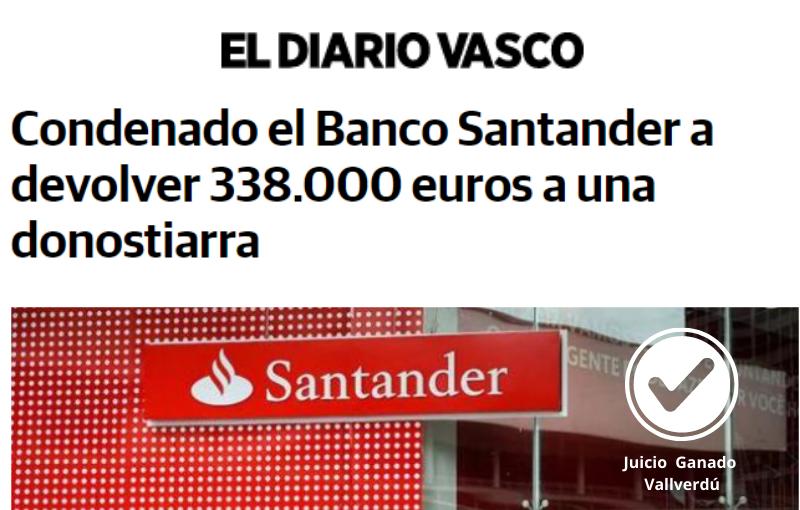 Condenado el Banco Santander a devolver 338.000 euros a una donostiarra
