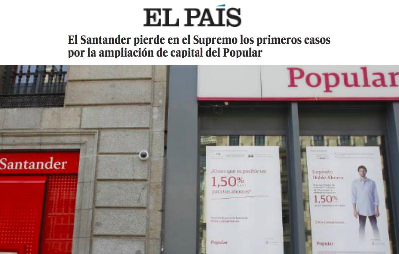 El Santander pierde en el Supremo los primeros casos por la ampliación de capital del Popular