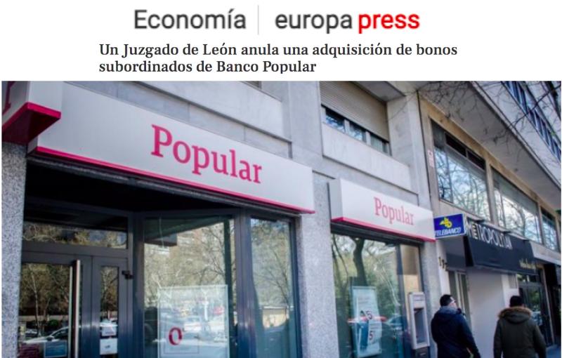 La Audiencia condena al Santander a devolver a un matrimonio gijonés 7.783,75 euros por acciones del Popular